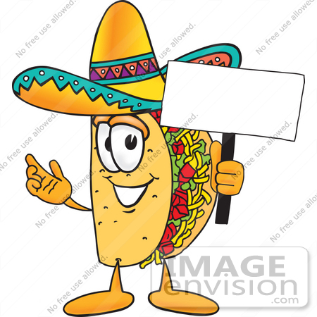 #25537 Clip Art Graphic of a Crunchy Hard Taco Character Holding a Blank Sign by toons4biz
