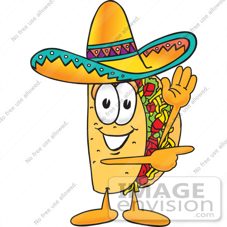 #25538 Clip Art Graphic of a Crunchy Hard Taco Character Waving and Pointing by toons4biz