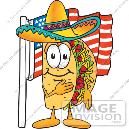 Clip Art Graphic of a Crunchy Hard Taco Character Pledging Allegiance ...