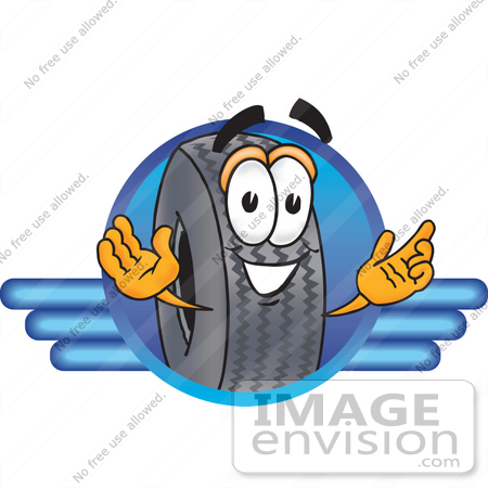 Clip Art Graphic of a Tire Character Logo