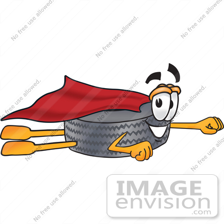 #25571 Clip Art Graphic of a Tire Character Super Hero Flying With a Cape by toons4biz