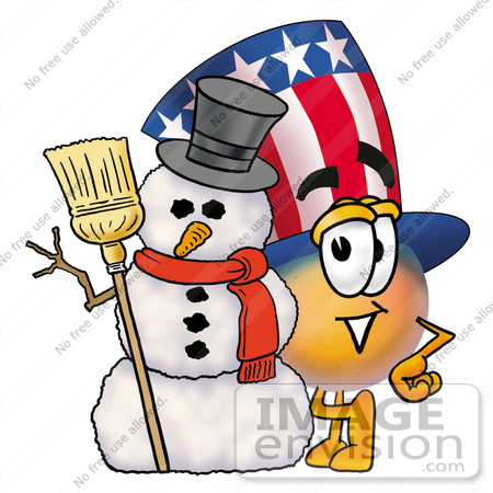 #25585 Clip Art Graphic of a Patriotic Uncle Sam Character With a Snowman on Christmas by toons4biz