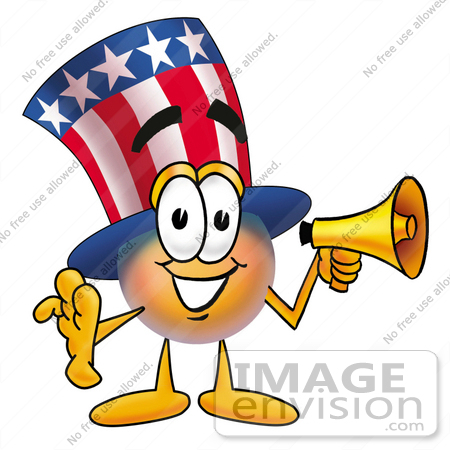 #25588 Clip Art Graphic of a Patriotic Uncle Sam Character Holding a Megaphone by toons4biz