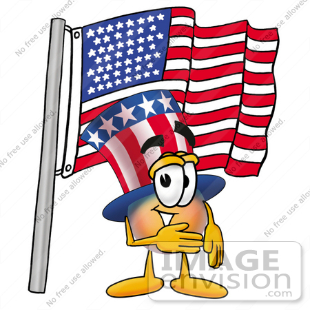 #25589 Clip Art Graphic of a Patriotic Uncle Sam Character Pledging Allegiance to an American Flag by toons4biz