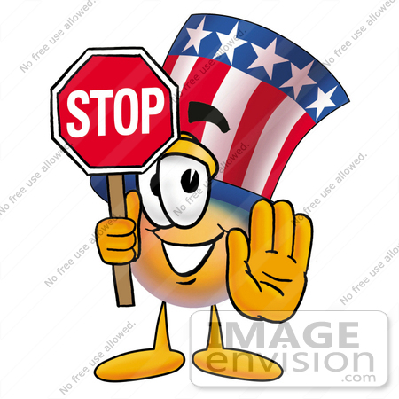 clip art graphic of a patriotic uncle sam character holding a stop rh imageenvision com Uncle Sam Money Uncle Sam Collecting Taxes