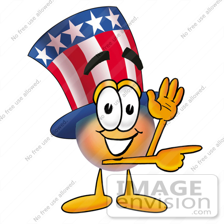 #25598 Clip Art Graphic of a Patriotic Uncle Sam Character Waving and Pointing by toons4biz