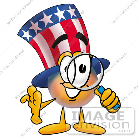 #25599 Clip Art Graphic of a Patriotic Uncle Sam Character Looking Through a Magnifying Glass by toons4biz