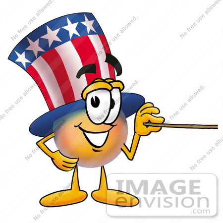 #25600 Clip Art Graphic of a Patriotic Uncle Sam Character Holding a Pointer Stick by toons4biz