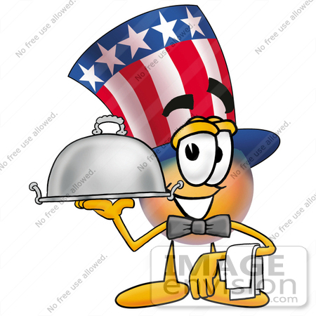 #25601 Clip Art Graphic of a Patriotic Uncle Sam Character Dressed as a Waiter and Holding a Serving Platter by toons4biz