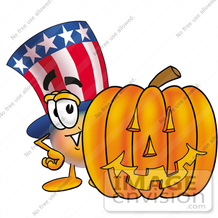 #25605 Clip Art Graphic of a Patriotic Uncle Sam Character With a Carved Halloween Pumpkin by toons4biz