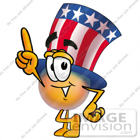 #25606 Clip Art Graphic of a Patriotic Uncle Sam Character Pointing Upwards by toons4biz