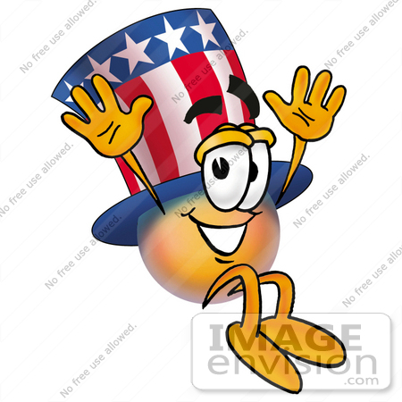 #25607 Clip Art Graphic of a Patriotic Uncle Sam Character Jumping by toons4biz