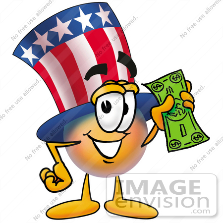 #25608 Clip Art Graphic of a Patriotic Uncle Sam Character Holding a Dollar Bill by toons4biz