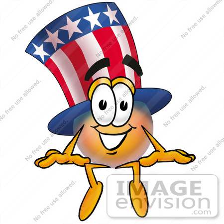 #25611 Clip Art Graphic of a Patriotic Uncle Sam Character Sitting by toons4biz