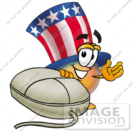 #25612 Clip Art Graphic of a Patriotic Uncle Sam Character With a Computer Mouse by toons4biz