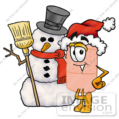 #25648 Clip art Graphic of a Bandaid Bandage Cartoon Character With a Snowman on Christmas by toons4biz