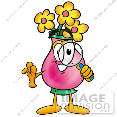 #25683 Clip Art Graphic of a Pink Vase And Yellow Flowers Cartoon Character Looking Through a Magnifying Glass by toons4biz
