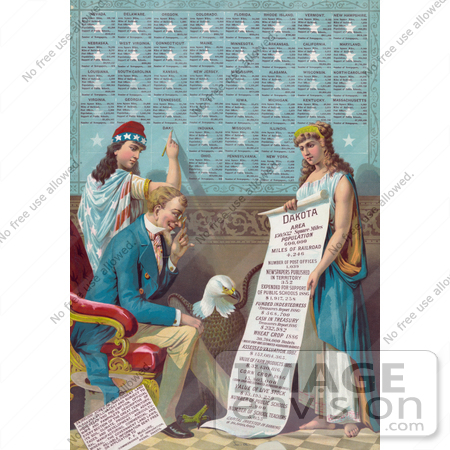 #25725 Stock Photography of Lady Liberty Writing Information on the Dakota Area While Uncle Sam and a Bald Eagle Read a Scroll That is Being Held by a Female Personification of Dakota by JVPD