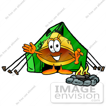 #25739 Clip Art Graphic of a Yellow Safety Hardhat Cartoon Character Camping With a Tent and Fire by toons4biz