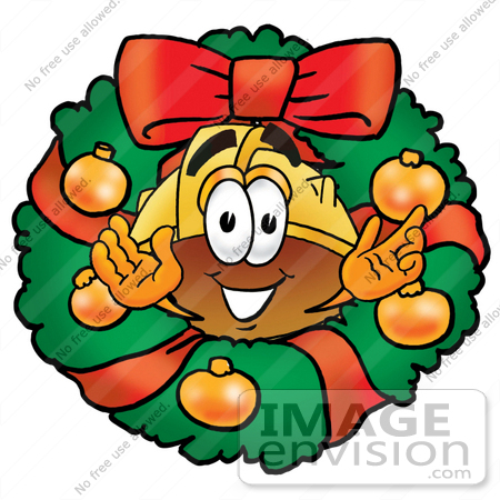 #25754 Clip Art Graphic of a Yellow Safety Hardhat Cartoon Character in the Center of a Christmas Wreath by toons4biz