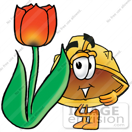#25755 Clip Art Graphic of a Yellow Safety Hardhat Cartoon Character With a Red Tulip Flower in the Spring by toons4biz