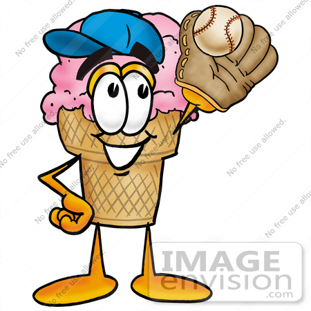 #25822 Clip Art Graphic of a Strawberry Ice Cream Cone Cartoon Character Catching a Baseball With a Glove by toons4biz