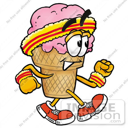 Clip Art Graphic of a Strawberry Ice Cream Cone Cartoon Character ...