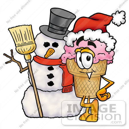 #25834 Clip Art Graphic of a Strawberry Ice Cream Cone Cartoon Character With a Snowman on Christmas by toons4biz