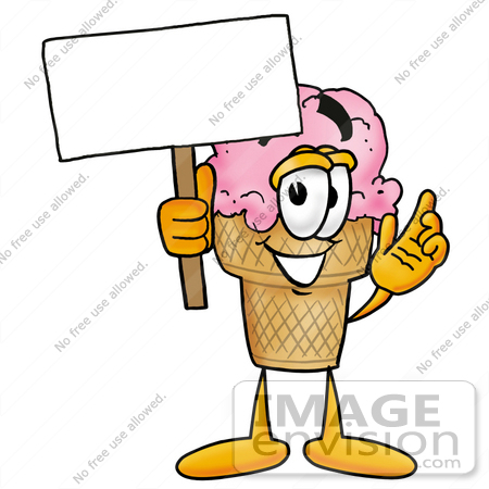 #25837 Clip Art Graphic of a Strawberry Ice Cream Cone Cartoon Character Holding a Blank Sign by toons4biz