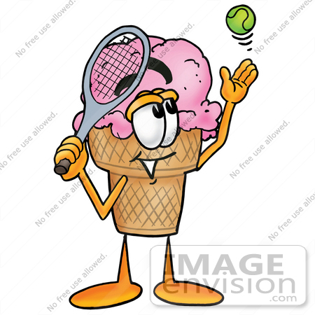 #25839 Clip Art Graphic of a Strawberry Ice Cream Cone Cartoon Character Preparing to Hit a Tennis Ball by toons4biz