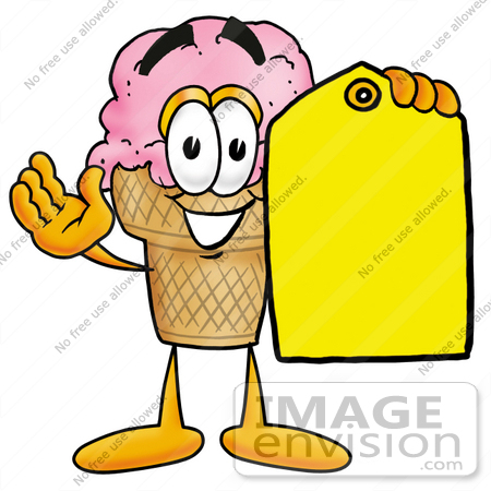 #25863 Clip Art Graphic of a Strawberry Ice Cream Cone Cartoon Character Holding a Yellow Sales Price Tag by toons4biz
