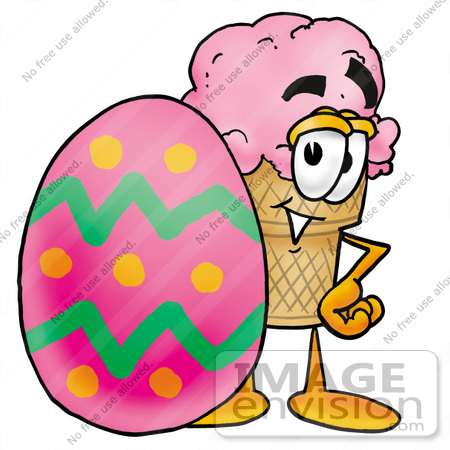 #25871 Clip Art Graphic of a Strawberry Ice Cream Cone Cartoon Character Standing Beside an Easter Egg by toons4biz