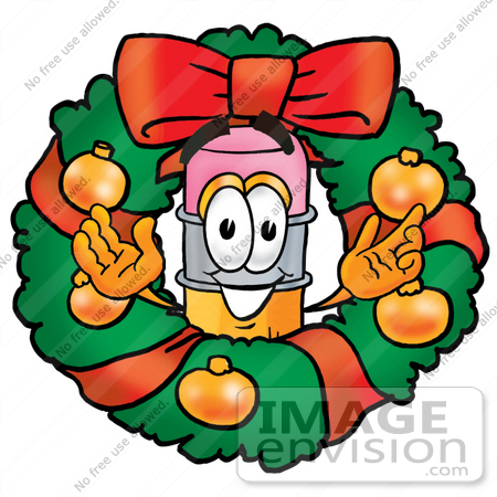 #25959 Clip Art Graphic of a Yellow Number 2 Pencil With an Eraser Cartoon Character in the Center of a Christmas Wreath by toons4biz