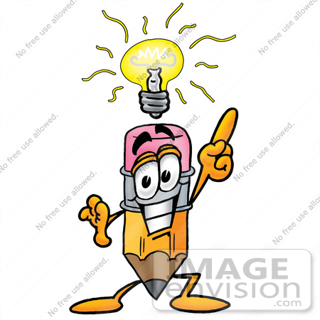 #25986 Clip Art Graphic of a Yellow Number 2 Pencil With an Eraser Cartoon Character With a Bright Idea by toons4biz