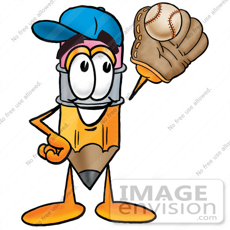 #25989 Clip Art Graphic of a Yellow Number 2 Pencil With an Eraser Cartoon Character Catching a Baseball With a Glove by toons4biz