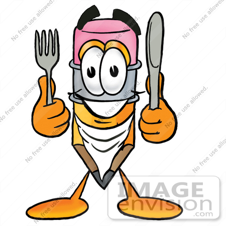 #25997 Clip Art Graphic of a Yellow Number 2 Pencil With an Eraser Cartoon Character Holding a Knife and Fork by toons4biz