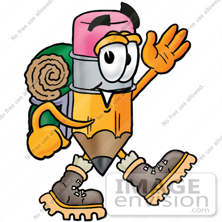 #26000 Clip Art Graphic of a Yellow Number 2 Pencil With an Eraser Cartoon Character Hiking and Carrying a Backpack by toons4biz