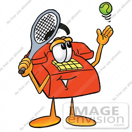 #26028 Clip Art Graphic of a Red Landline Telephone Cartoon Character Preparing to Hit a Tennis Ball by toons4biz
