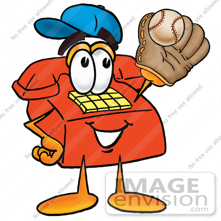 #26046 Clip Art Graphic of a Red Landline Telephone Cartoon Character Catching a Baseball With a Glove by toons4biz