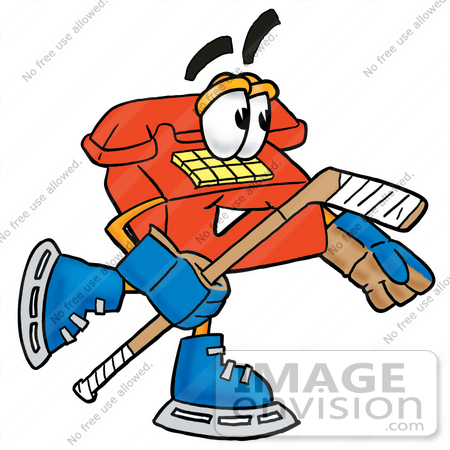 #26064 Clip Art Graphic of a Red Landline Telephone Cartoon Character Playing Ice Hockey by toons4biz