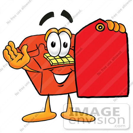 #26065 Clip Art Graphic of a Red Landline Telephone Cartoon Character Holding a Red Sales Price Tag by toons4biz
