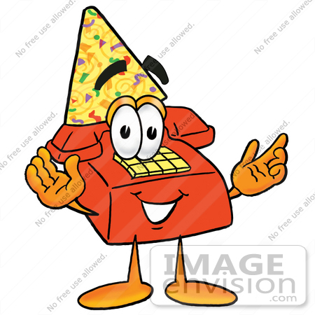 #26072 Clip Art Graphic of a Red Landline Telephone Cartoon Character Wearing a Birthday Party Hat by toons4biz