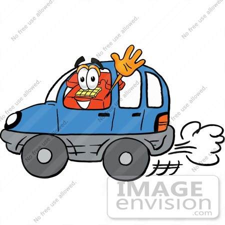 #26075 Clip Art Graphic of a Red Landline Telephone Cartoon Character Driving a Blue Car and Waving by toons4biz