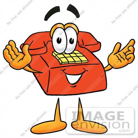 #26078 Clip Art Graphic of a Red Landline Telephone Cartoon Character With Welcoming Open Arms by toons4biz