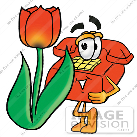 #26080 Clip Art Graphic of a Red Landline Telephone Cartoon Character With a Red Tulip Flower in the Spring by toons4biz