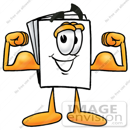 #26084 Clip Art Graphic of a White Copy and Print Paper Cartoon Character Flexing His Arm Muscles by toons4biz