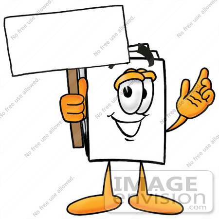 #26099 Clip Art Graphic of a White Copy and Print Paper Cartoon Character Holding a Blank Sign by toons4biz