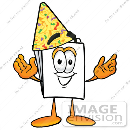 #26100 Clip Art Graphic of a White Copy and Print Paper Cartoon Character Wearing a Birthday Party Hat by toons4biz