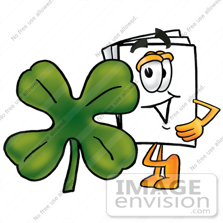 #26102 Clip Art Graphic of a White Copy and Print Paper Cartoon Character With a Green Four Leaf Clover on St Paddy's or St Patricks Day by toons4biz