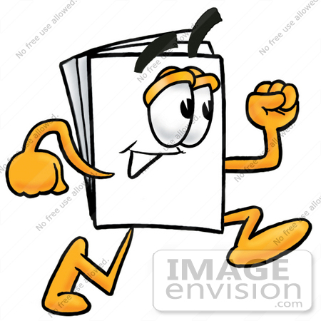 #26110 Clip Art Graphic of a White Copy and Print Paper Cartoon Character Running by toons4biz